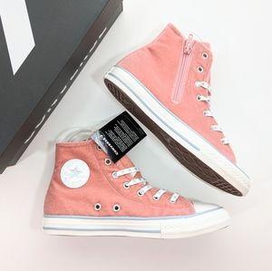Converse CTAS Side Zip Hi Velvet Rust Pink/White